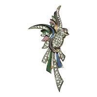 Vintage Enameled Coro Attr. Figural Bird Brooch Rhinestones Pink & Blue Enamel
