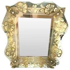 "Rare Huge Mirrored Dresser Tray & Picture Frame Lucite ""Ruffle"" Gilt Flowers 50's"