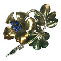 Exquisite Figural Enameled Flower Brooch Boucher Attr. Rhinestones & Blue Beads