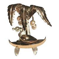 Unique RARE Dimensional Figural Palm Tree & Flamingo Brooch 1940's Faux Pearls