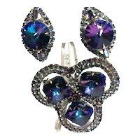 Gorgeous Iridescent Purple Rivoli & Crystal Rhinestone Vintage Brooch & Earrings