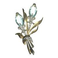"Stunning R. DeRosa (Attr.) 4"" Double Flower Figural Brooch Aqua Crystal Blossoms"