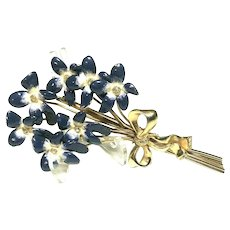 """Rare Calvaire 1930'S Enameled Forget-Me-Not Flower Bouquet Gold Wash Brooch 4"""""""