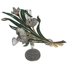 Vintage Trembler Figural Enameled Rhinestone Encrusted Flower Bouquet Brooch