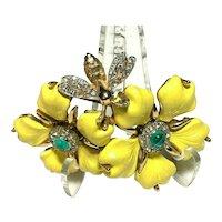 Fabulous RARE Enameled JOMAZ Yellow Dogwood Flowers & Rhinestone Bee Brooch