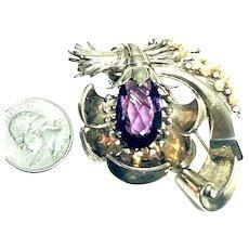 Superb Figural Flower Sterling Silver Faux Pearl & Amethyst Stone Fur Pin Brooch