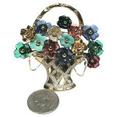 RARE Vogue Bijoux Vintage Figural Flower Basket Brooch Multi-Colored Flowers