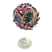 RARE Juliana D&E Carved Iridescent Cabochon & Rhinestone Layered Brooch