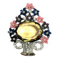 RARE CORO Figural Enameled Flower Basket Brooch LARGE Light Amber Stone