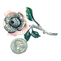 Vintage Figural 40's Enameled & Rhinestone Inset Rose Brooch FABULOUS!