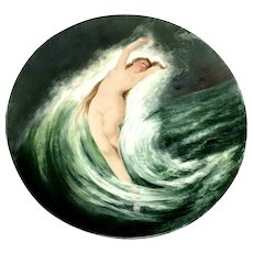 """RARE Antique J.Pouyat Limoges France Nude Rising Out Of the Waves 14"""" Charger"""