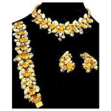 Amber & Iridescent Teal Molded Lava Glass Schiaparelli Necklace, Bracelet Set