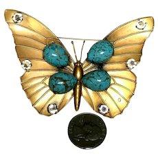Huge Vintage Joseff of Hollywood Figural Speckled Aqua Cabochon Butterfly Brooch