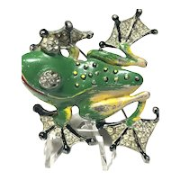 Iconic RARE Chanel Novelty Enameled & Rhinestone Inset Figural Frog Brooch