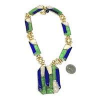 Rare Paris Vintage Gripoix Art Glass Huge Geometric Pendant Necklace