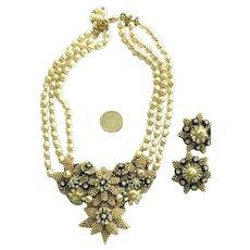 Incredible Stanley Hagler Bib Necklace & Earrings Rhinestone, Faux Pearls