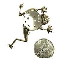 Vintage Sterling Silver Vermeil Figural Frog Rhinestone Inset Jelly Belly Brooch