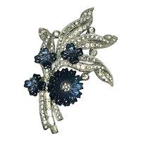 Vintage Mazer Molded Sapphire Blue Flower & Crystal Rhinestone Flower Brooch