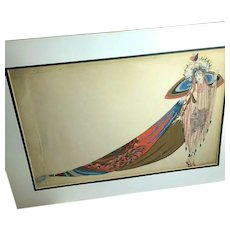 RARE Original French Zig (Louis Gaudin) Salome Art Deco Fashion Gouache Illustration