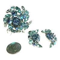 Vintage Iridescent Aqua & Foil Art Glass Cabochon Swirled Brooch & Earring Set