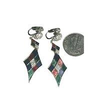 RARE Vintage Boucher Enameled Diamond Shaped Dangle Earrings #930703