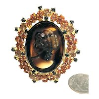 SUPERB Juliana DeLizza & Elster Cameo Brooch Edged Orange & Black Rhinestones