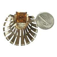 Crown Trifari Alfred Philippe Topaz & Rhinestone Sterling Vermeil Shell Fur Pin