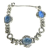 RARE KTF Philippe Trifari Faux Blue Sapphire & Rhinestone Art Deco Bracelet