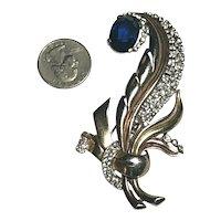 Crown Trifari Alfred Philippe Rhinestone Inset Sapphire Crystal Fur Pin Brooch