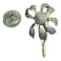 Vintage Gorgeous Les Bernard Figural Flower Dimensional Rhinestone Inset Brooch