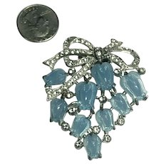 Stunning Unsigned Vintage CORO Blue Opalescent Tulip Fruit Salad Stoned Fur Pin