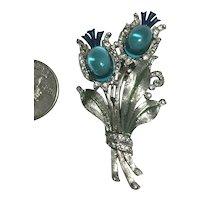 Rare Crown Trifari Philippe Figural Thistle Fur Pin Brooch Aqua Cabs & Enamel