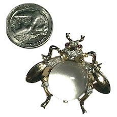 Sterling Silver Crown Trifari Alfred Philippe Jelly Belly Figural Fly Brooch