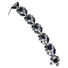 RARE Schiaparelli Amethyst & Iridescent Lavender Wide Signed Bracelet