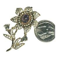 Fabulous Jomaz Vintage Figural Flower Brooch Amethyst Opalized Cabochon