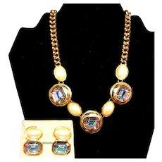 RARE Signed YSL Iridescent Watermelon Crystal & Faux Pearl Necklace Earrings