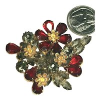 Superb Red Rhinestone Flower, Smoke Accent Stones Metal Accent Vintage Brooch