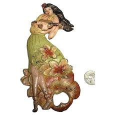 Rare Original Enameled Cast Iron Figural Hula Girl Hawaiian Bottle Opener