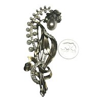 Divine STARET Signed Faux Pearl & Rhinestone Inset Flower Figural Brooch