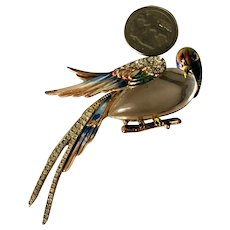 RARE Coro Craft Sterling Vermeil Huge Jelly Belly Enameled Figural Bird Brooch