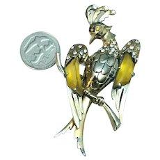RARE 1940's Figural Bird Brooch Rhinestone Embedded Amber Stones In Wings