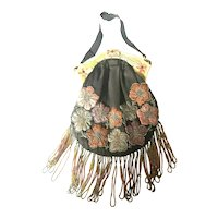 Carved Enameled Celluloid Frame Beaded & Embroidered Fringed Hiawatha Purse