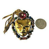 MAGICAL VIntage Face Mask Brooch With Pink and Multiple Rhinestone Surround