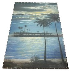 Unique Signed Mid-Century Modern Painting Palm Trees Moonlight Glass Frame