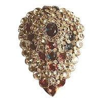 "Huge ""Jeweled"" HOBE Teardrop Dress Clip Filigree Gold Tone Metal Rhinestones"