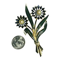 Vintage 30's Enameled CORO Double Flower Brooch, Faux Pearls & Rhinestones