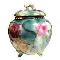 Antique Limoges Footed Cracker Biscuit Jar Hand Painted Roses & Purple Ribbons
