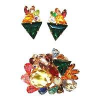 """MAGNIFICENT Vintage """"Gem"""" Multi-Colored Huge Statement Brooch & Earrings Set!"""