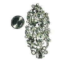 Huge Eisenberg Original Signed Crystal Rhinestone Embedded Dress Clip or Brooch