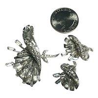 Figural Phrygian Cap MB Boucher Flower Brooch & Earrings Lily Set